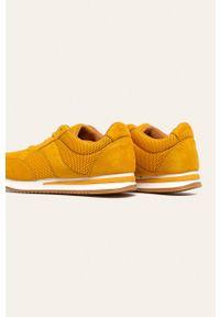 Żółte buty sportowe ANSWEAR z okrągłym noskiem, z cholewką, na sznurówki