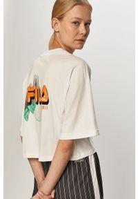 Biała bluzka Fila na co dzień, casualowa, z nadrukiem