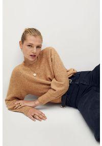 Brązowy sweter mango raglanowy rękaw, casualowy, na co dzień