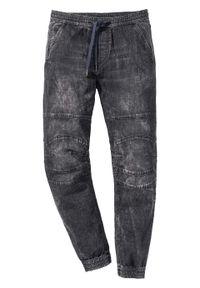 Dżinsy bez zamka w talii Slim Fit Straight bonprix czarny denim. Kolor: czarny. Materiał: elastan, materiał, bawełna