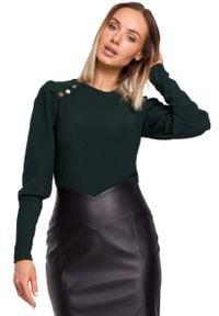 MOE - Prążkowana Bluzka z Bufiastym Rękawem - Zielona. Kolor: zielony. Materiał: prążkowany