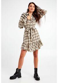 Twinset Milano - SUKIENKA TWINSET ACTITUDE. Materiał: koronka. Wzór: kratka, koronka, ażurowy. Typ sukienki: koszulowe. Styl: klasyczny. Długość: mini