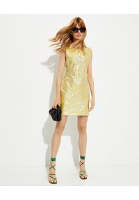 SAKS POTTS - Błyszcząca sukienka Vision. Kolor: żółty. Materiał: materiał. Długość rękawa: na ramiączkach. Typ sukienki: dopasowane. Długość: mini