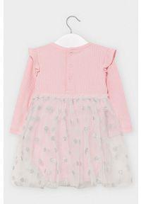 Różowa sukienka Mayoral z długim rękawem, w grochy, mini