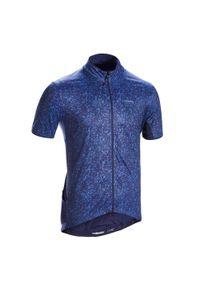 TRIBAN - Koszulka krótki rękaw na rower szosowy RC500 Terrazzo. Kolor: niebieski. Materiał: poliamid, wełna, materiał, elastan, poliester. Długość rękawa: krótki rękaw. Długość: krótkie. Sport: kolarstwo