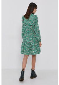 Vero Moda - Sukienka bawełniana. Kolor: zielony. Materiał: bawełna. Typ sukienki: rozkloszowane