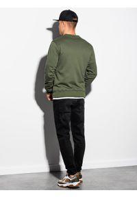 Ombre Clothing - Bluza męska rozpinana bez kaptura B1077 - khaki - XXL. Typ kołnierza: bez kaptura. Kolor: brązowy. Materiał: poliester, bawełna. Styl: sportowy