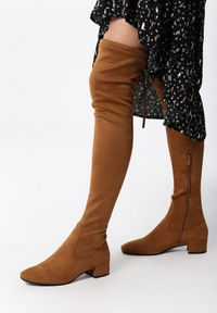 Born2be - Camelowe Kozaki Decorous. Wysokość cholewki: przed kolano. Zapięcie: zamek. Materiał: jeans, skóra, materiał. Szerokość cholewki: normalna. Obcas: na obcasie. Styl: elegancki. Wysokość obcasa: niski