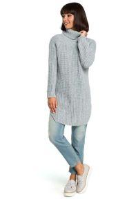 Szary długi sweter MOE z golfem