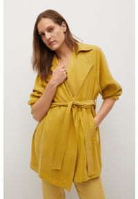 Żółty płaszcz mango gładki, klasyczny