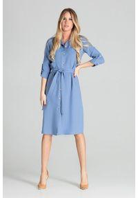 Figl - Koszulowa sukienka szmizjerka z podpinanym rękawem 3/4 niebieska. Okazja: do pracy, na uczelnię, na imprezę. Kolor: niebieski. Typ sukienki: szmizjerki, koszulowe