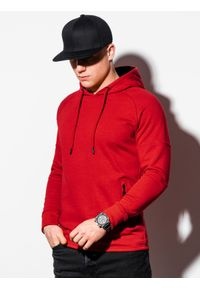 Ombre Clothing - Bluza męska z kapturem B1080 - czerwona - XXL. Typ kołnierza: kaptur. Kolor: czerwony. Materiał: bawełna, poliester
