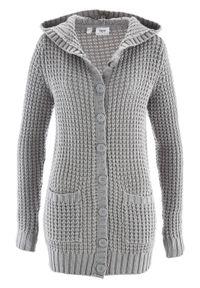Sweter rozpinany z kapturem bonprix jasnoszary melanż. Typ kołnierza: kaptur. Kolor: szary. Wzór: melanż