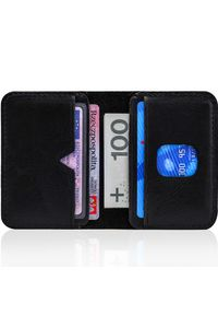 Cienki skórzany portfel męski Solier SW11 czarny. Kolor: czarny. Materiał: skóra