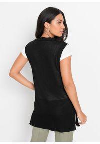 Długi sweter rozpinany bez rękawów, z poliestru z recyklingu bonprix czarny. Kolor: czarny. Materiał: poliester. Długość rękawa: bez rękawów. Długość: długie