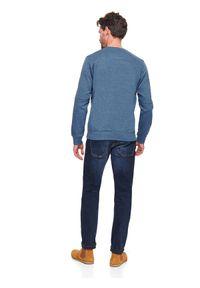 TOP SECRET - Bluza z łączonych materiałów. Okazja: na co dzień. Kolor: niebieski. Materiał: materiał. Sezon: wiosna. Styl: casual, klasyczny