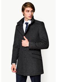 Szary płaszcz Lancerto w kolorowe wzory, na jesień, elegancki
