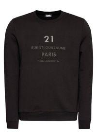 Karl Lagerfeld - KARL LAGERFELD Bluza Sweat 705042 502950 Czarny Regular Fit. Typ kołnierza: dekolt w karo. Kolor: czarny