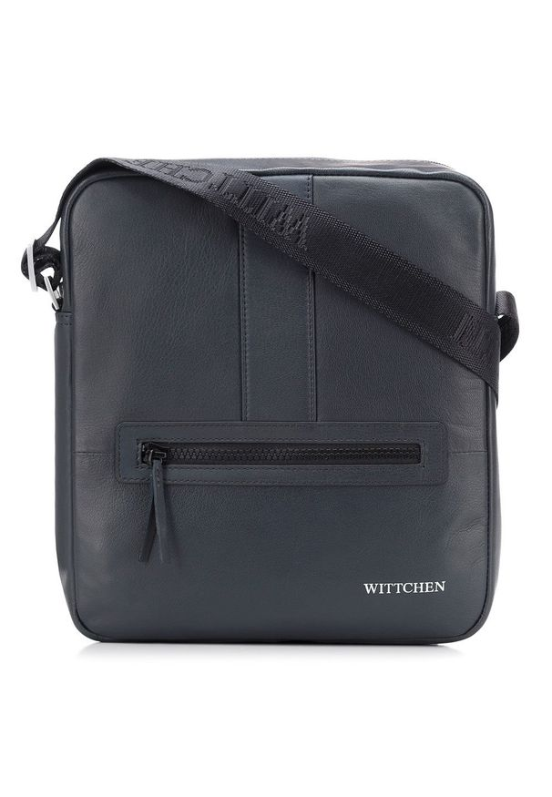Wittchen - Męska listonoszka skórzana stębnowana średnia. Kolor: niebieski. Materiał: skóra. Styl: elegancki, klasyczny, casual