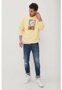 Żółta bluza nierozpinana Volcom z nadrukiem, z kapturem