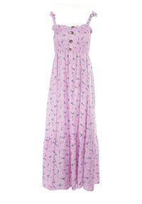 Born2be - Liliowa Sukienka Amanoire. Kolor: fioletowy. Długość rękawa: na ramiączkach. Wzór: kwiaty, aplikacja. Styl: wakacyjny. Długość: maxi