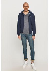 Niebieski t-shirt Tommy Jeans casualowy, melanż, na co dzień