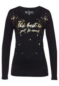 Shirt z długim rękawem bonprix czarno-złoty. Kolor: czarny. Długość rękawa: długi rękaw. Długość: długie. Wzór: nadruk, aplikacja