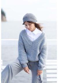 MOE - Klasyczny Sweter z Dekoltem V z Przodu i na Plecach - Miętowy. Kolor: miętowy. Materiał: wełna, nylon, akryl. Styl: klasyczny