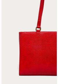 Czerwona shopperka Love Moschino gładkie, skórzana, na ramię