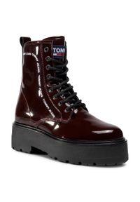 Czerwone buty trekkingowe Tommy Jeans z cholewką