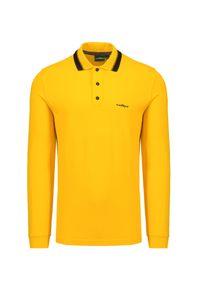 Żółta koszulka polo Chervo polo, na co dzień, z długim rękawem, długa