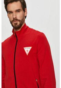 Czerwona bluza rozpinana Guess bez kaptura, na co dzień, z aplikacjami, casualowa