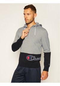 Champion Bluza Half Zip-Up Colour Block Wraparound Logo Hoodie 214205 Szary Comfort Fit. Kolor: szary