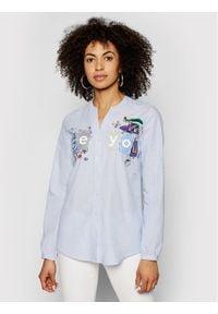 Desigual Koszula Beyou 21SWCW24 Niebieski Loose Fit. Kolor: niebieski