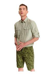 TOP SECRET - Koszula z lnem o dopasowanym kroju. Kolor: zielony. Materiał: len. Długość rękawa: długi rękaw. Długość: długie. Sezon: lato, wiosna #5