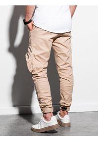 Ombre Clothing - Spodnie męskie joggery P996 - beżowe - XXL. Kolor: beżowy. Materiał: elastan, bawełna