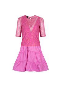 """Pinko Sukienka """"Pandoro"""". Okazja: na co dzień. Materiał: tkanina, koronka. Długość rękawa: krótki rękaw. Wzór: koronka. Typ sukienki: proste, rozkloszowane. Styl: casual. Długość: midi"""