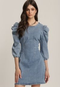 Renee - Niebieska Sukienka Orethiphaeia. Kolor: niebieski. Materiał: jeans, skóra. Wzór: aplikacja. Styl: klasyczny. Długość: mini