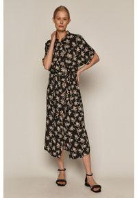 medicine - Medicine - Sukienka Commercial. Kolor: czarny. Materiał: włókno, wiskoza, materiał. Długość rękawa: krótki rękaw