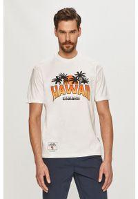 Biały t-shirt Napapijri casualowy, z nadrukiem, na co dzień