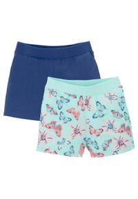 Niebieskie spodnie bonprix w kwiaty, krótkie