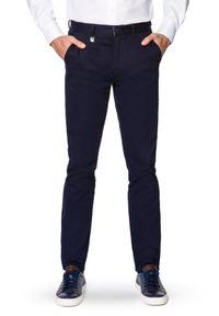 Lancerto - Spodnie Granatowe Chino Dennis. Okazja: na co dzień. Kolor: niebieski. Materiał: elastan, tkanina, materiał, bawełna. Wzór: kolorowy. Styl: casual