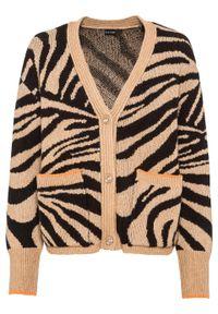 Brązowy sweter bonprix z motywem zwierzęcym