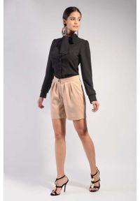 Nommo - Beżowe Krótkie Materiałowe Spodnie Szorty. Kolor: beżowy. Materiał: materiał. Długość: krótkie