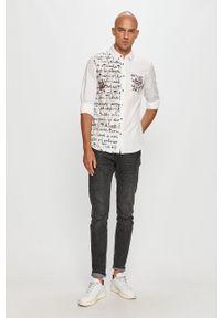 Biała koszula Desigual klasyczna, z aplikacjami