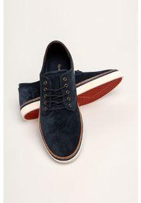Niebieskie sneakersy GANT z cholewką, na sznurówki, z okrągłym noskiem
