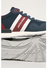 Niebieskie sneakersy Jack & Jones z okrągłym noskiem, na sznurówki, z cholewką