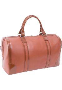 Brązowa torba na laptopa MCKLEIN w kolorowe wzory, casualowa