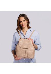 Wittchen - Damski plecak skórzany pleciony. Kolor: beżowy. Materiał: skóra. Wzór: haft. Styl: elegancki