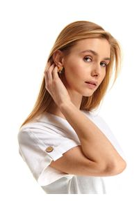 Biała sukienka TOP SECRET do pracy, z dekoltem w kształcie v, casualowa